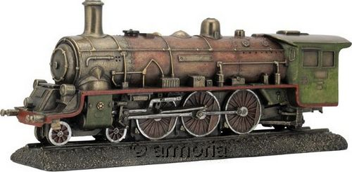 Figurine Steampunk Locomotive en résine aspect bronze