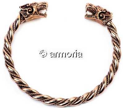 Bracelet double torsade Bracelet-Torque-Viking-Tetes-de-Loup-gueule-ouverte-petit-modele-en-bronze-w