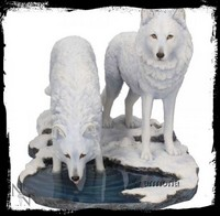 "Figurine Deux Loups Blancs ""Warriors of Winter"" de Lisa Parker"