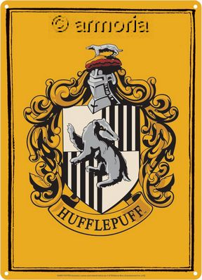 Plaque métal Hufflepuff - Harry Potter, 15x21 cm