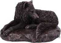 "Figurine Loup Couché ""Guardian of The North"" de Lisa Parker, aspect bronze"