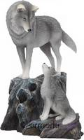 "Figurine Loup regardant son petit ""Guidance"" par Lisa Parker"