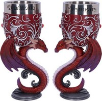 Calices Duo Dragon rouge et violet  formant un Coeur