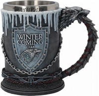 Chope Game of Thrones de la Maison Stark Winter is Coming avec glace en résine licence officielle
