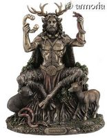 Figurine Cernunnos assis et Animaux aspect bronze