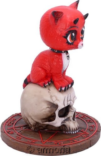 "Figurine Chat Démoniaque sur Crâne ""Devil Kitty"" de James Ryman"