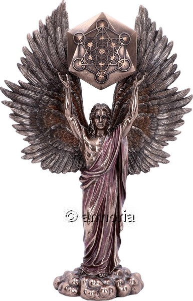 Figurine Archange Metatron avec Cube aspect bronze
