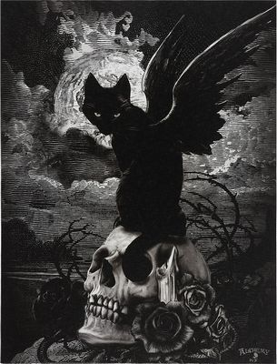 Reproduction sur toile Nine Lives of Poe d'Alchemy England
