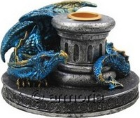 Bougeoir Dragon Flame Keeper, bleu
