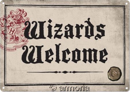 Plaque métal Wizards Welcome - Harry Potter, 21x15 cm