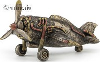 Figurine Avion Steampunk en résine aspect bronze