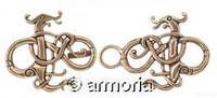 Fermoir de Cape Dragon Viking style Urnes en bronze