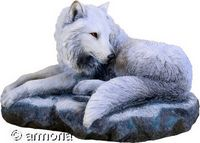 "Figurine Loup Couché ""Guardian of The North"" de Lisa Parker, coloré"