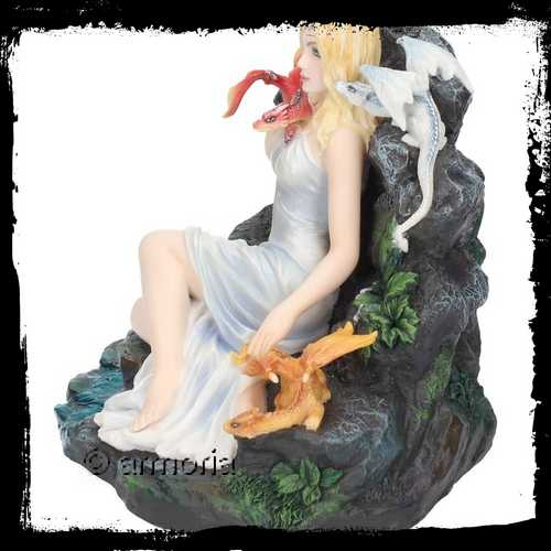 "Figurine Jeune Fille aux Deux Dragons ""Maiden and The Dragonlings"" Marque Veronese"