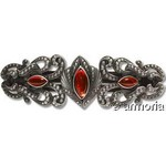 Barrette points et 3 perles de verre rouges